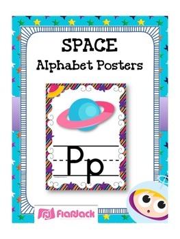 SPACE Themed Manuscript Alphabet Posters