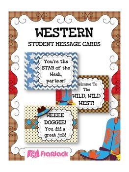 WESTERN COWBOY Themed Student Message Cards (Postcards)