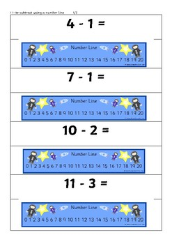 SPACE themed subtraction digits to 15 with numberline
