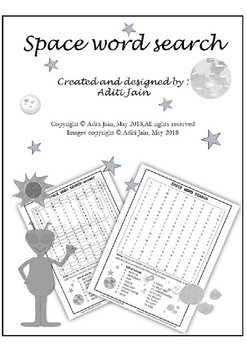 SPACE word search Puzzle(Black & White)