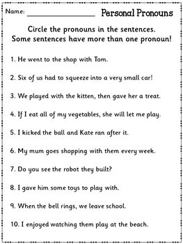 SPAG Revision Pronouns Practice Worksheets UK Teaching Resources