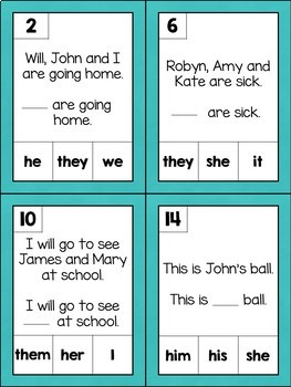 SPAG Revision: Year 4 Pronouns Games Stations {UK Teaching Resources}