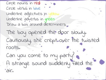 SPAG worksheet - find the parts of a sentence