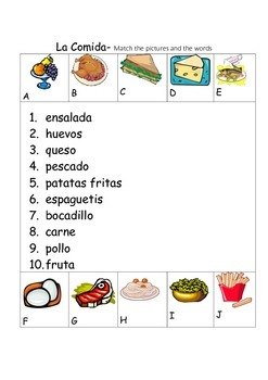 SPANISH - Picture Match - La Comida(2) (Food)