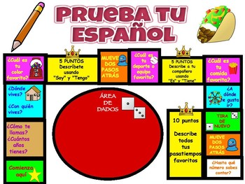 "SPANISH 1, 2 pre-post test ""game"" assessment, also in English for ELLs"
