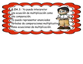 "SPANISH 4th Grade MATH ""I CAN"" statements"