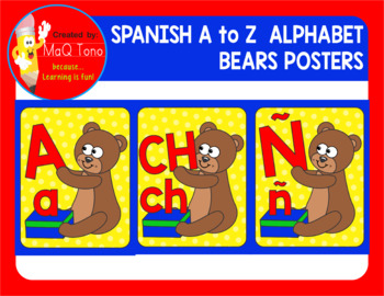 SPANISH  A to Z Alphabet Bears Posters