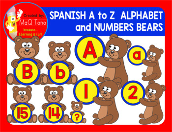 SPANISH A to Z Alphabet and Numbers Bears and Teddy Bears