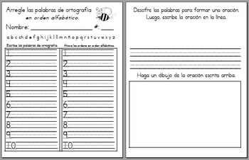 SPANISH - ABC Order & Unscramble Activity