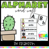 SPANISH ALPHABET WORD WALL CACTUS THEME (Headers & Editable Word Wall Cards)