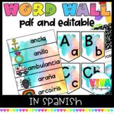 Pared de palabras   Word Wall & Alphabet Watercolor Classroom Decor in Spanish