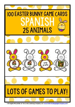 SPANISH ANIMALS - 100 EASTER BUNNY GAME CARDS