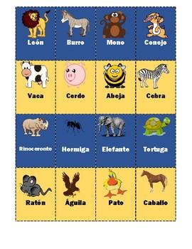 SPANISH: ANIMALS MEMORY GAME