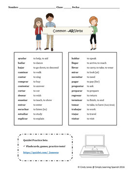 "SPANISH ""AR VERBS"" ACTIVITIES"
