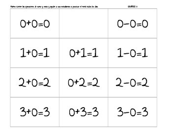 SPANISH Addition And Subtraction Facts HOMEWORK {1st Grade}