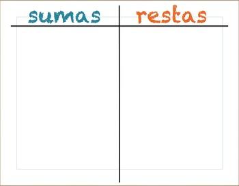 SPANISH Addition and Subtraction sort / Comparar las sumas