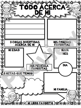 SPANISH All About Me - First Day of School Activity