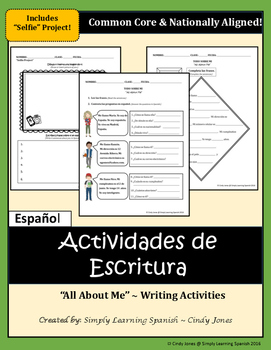 """SPANISH """"All About Me!"""" WRITING ACTIVITIES"""