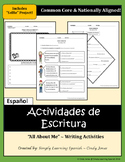 "SPANISH ""All About Me!"" WRITING ACTIVITIES"