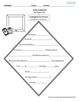 """SPANISH """"All About Me!"""" WRITING ACTIVITY"""