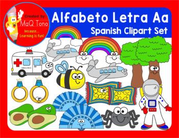 SPANISH Alphabet Letter Aa Phonics Clipart Set ... ALFABETO Letra Aa