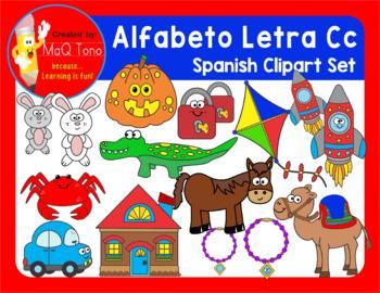 SPANISH Alphabet Letter Cc Phonics Clipart Set ... ALFABETO Letra Cc