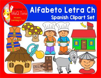 SPANISH Alphabet Letter Ch Phonics Clipart Set ... ALFABETO Letra Ch