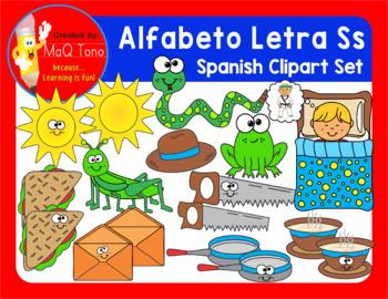 SPANISH Alphabet Letter Ss Phonics Clipart Set ... ALFABETO Letra Ss