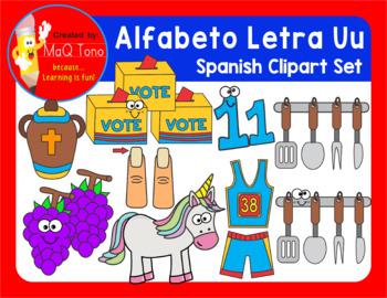 SPANISH Alphabet Letter Uu Phonics Clipart Set ... ALFABETO Letra Uu