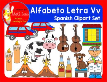 SPANISH Alphabet Letter Vv Phonics Clipart Set ... ALFABETO Letra Vv