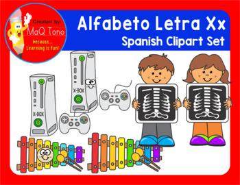SPANISH Alphabet Letter Xx Phonics Clipart Set ... ALFABETO Letra Xx