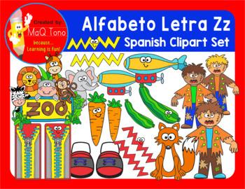 SPANISH Alphabet Letter Zz Phonics Clipart Set ... ALFABETO Letra Zz