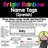 SPANISH Alphabet Name Tags {Rainbow Number Line w/ Black a