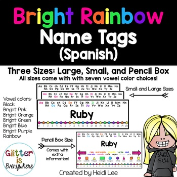 SPANISH Alphabet Name Tags {Rainbow Number Line w/ Black a