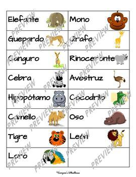 SPANISH Animales Salvajes Vocabulary Cues