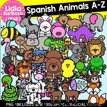 SPANISH Animals A-Z Clipart Bundle