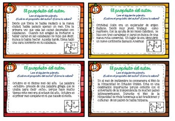 SPANISH Author's  Purpose Task Cards  FALL EDITION (El propósito del autor)
