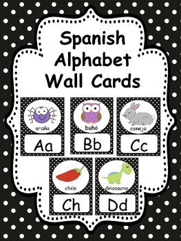 SPANISH BLACK POLKA DOTS ALPHABET CARDS