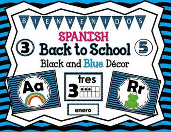 SPANISH Back to School Black and Blue Décor