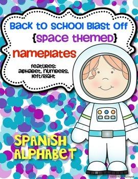 **SPANISH** Back to School Blast Off {Desk Nameplates} Spa