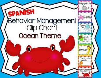 SPANISH Behavior Management Clip Chart Ocean Theme