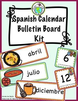 SPANISH CALENDAR Bulletin Board Kit Cultural Foods Themed