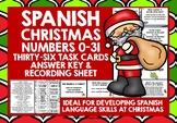 SPANISH CHRISTMAS  NUMBERS 0-31 TASK CARDS