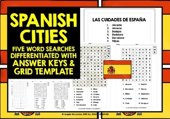 Map Of Spain For Classroom.Spanish Cities Word Searches