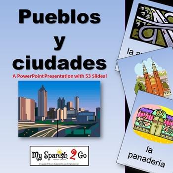 SPANISH CITY VOCABULARY (PUEBLOS Y CIUDADES)--A POWERPOINT PRESENTATION