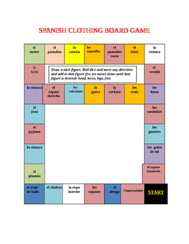 SPANISH CLOTHING BOARD GAME