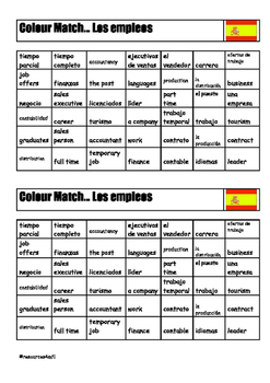 SPANISH - COLOUR MATCH - Los Empleos (Jobs)