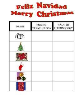 SPANISH - Christmas vocabulary sheet and KEY