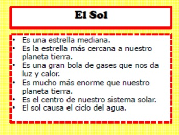 SPANISH Lesson-Ciencias-El Sol-Informationtional Activity, Foldables, Writing