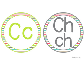 SPANISH Circle Word Wall Letters - Country Cool - Teal, Green, Coral, Gray, Tan